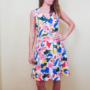 J. CREW Floral Print A-line V-Neck Dress